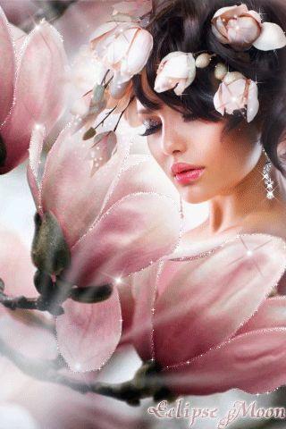 Femme aux fleurs - image animée