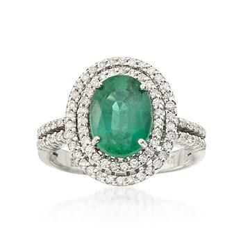 2.20 Carat Emerald and .45 ct. t.w. Diamond Ring In 14kt White Gold. Size 6