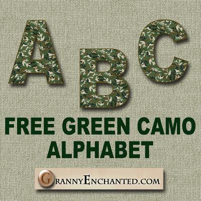 Free Green Camo Digi Scrapbook Alphabet ***Join 1,810 ...