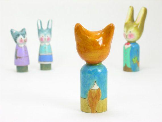 Mr Fancy Fox wooden peg doll handmade children's toy