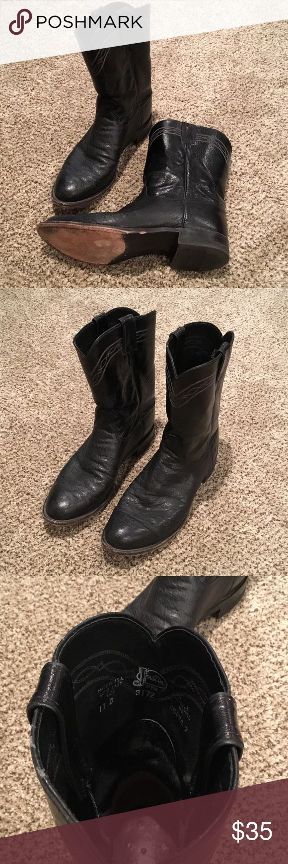 Justin Work Boots Size 11 Justin Work Boot 11 Black Justin Boots Shoes Boots