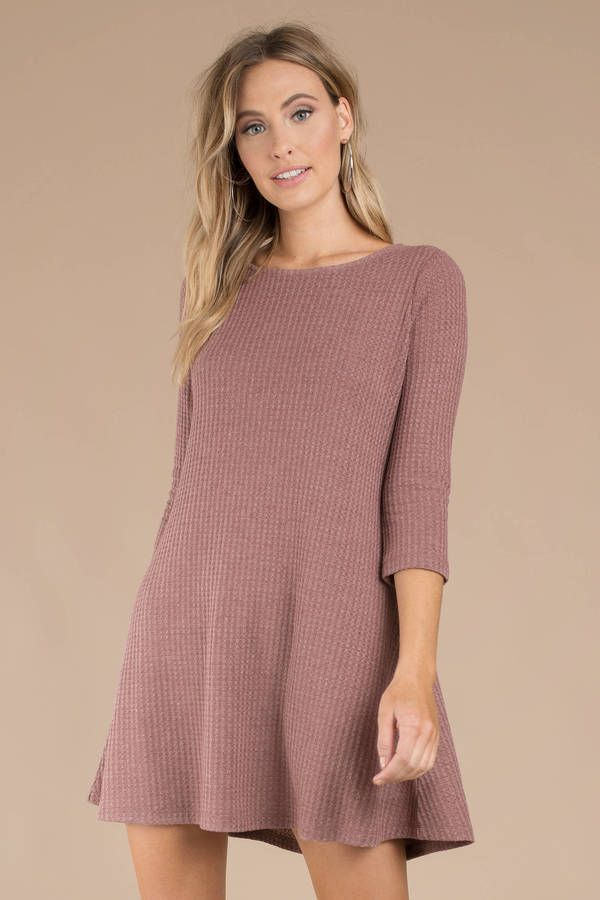 814bc7db5f37 Swing into the cooler season with the Glow With The Flow Wine Swing Dress.  This waffle knit winter dress features 3 4 sleeves and a crew neckline to k  ...
