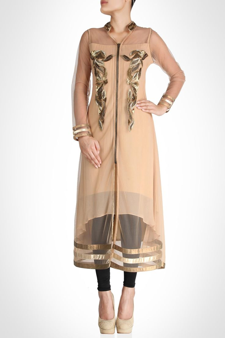 Peach coloured kurta with gold detailing and net sleeves