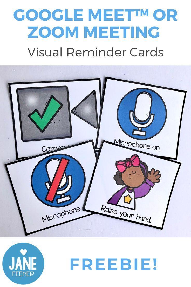 Google Meet Or Zoom Visual Reminder Cards Freebie Digital Learning Classroom Fun Classroom Activities Online Kindergarten
