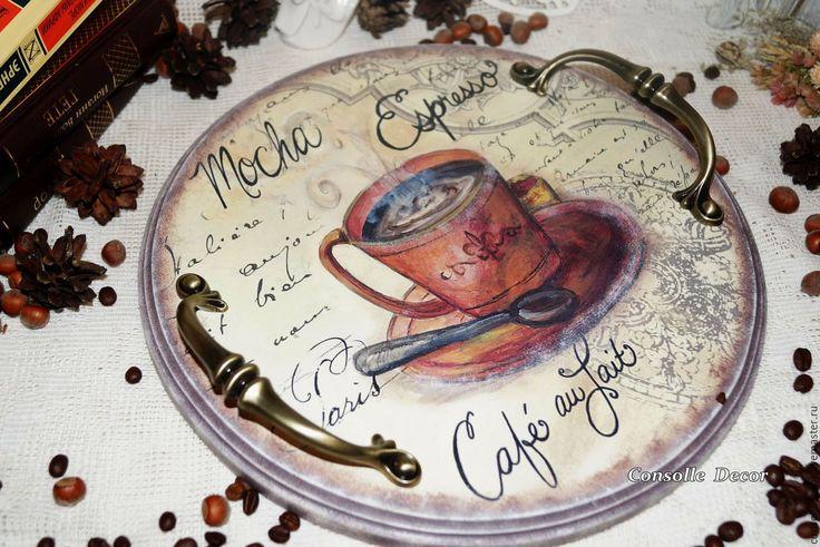 """Купить Поднос """"Cafe a Paris"""". - поднос, ручная работа, поднос декупаж, деревянный поднос"""