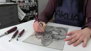 ART + CRAFT + GIFT: Dry Point Etching with chine-colle Vintage Craft School/Vintage Craft/Art&Craft/ Engraving/Etching