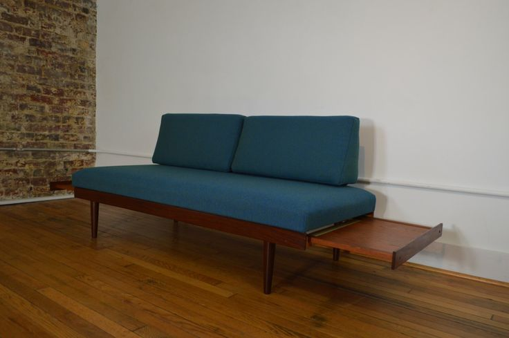 Scandinavian Daybed / Sofa with Teak Pull Out End Tables by GalaxieModern on Etsy https://www.etsy.com/listing/281203924/scandinavian-daybed-sofa-with-teak-pull