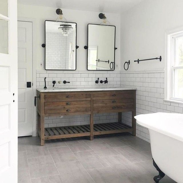 Agree On Subway Tile With Black Grout Chair Rail In 2020 Bathrooms Remodel Bathroom Interior Bathroom Makeover