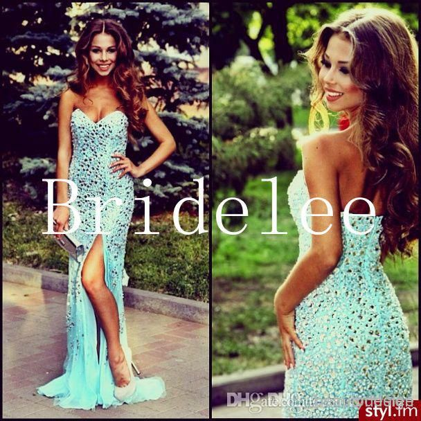 Wholesale Sparkly custom made luxurisous sheath prom dresses sexy backless sweetheart shiny sequins beaded rhinestones side slit formal evening gowns, Free shipping, $148.91/Piece   DHgate Mobile