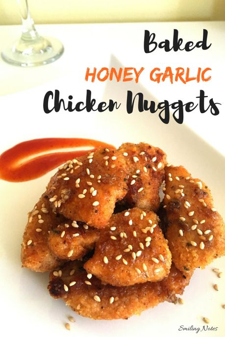 These Baked honey garlic chicken nuggets are a delicious appetizer or side option. Quick, easy & delicious!