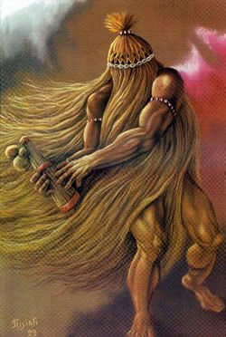 Obaluaye -  divinity of disease and illness ,also orisha of healing and the earth, son of Iemanja