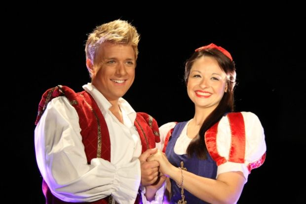 Jonathan Ansell and Natalie Law in Snow White and the Seven Dwarfs at Chesterfield's Pomegranate Theatre.