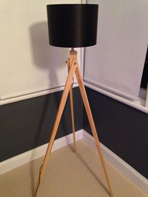 tripod lamp with black shade