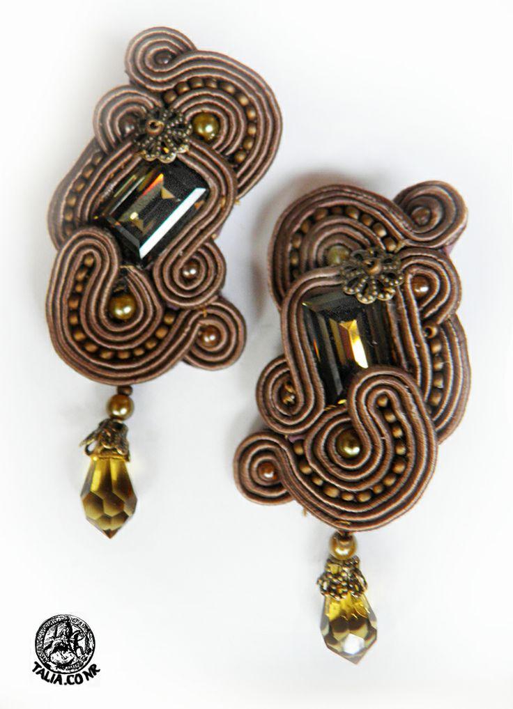 Dark Green soutache earrings