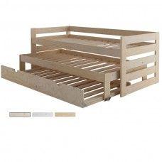 Cama compacta de 3 pisos + Cama nido  para Dormitorio Juvenil para 3