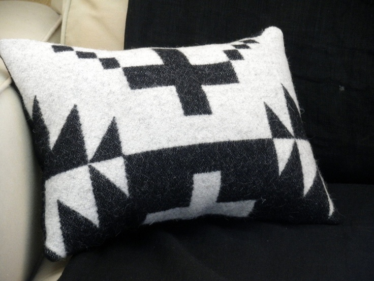 Pendleton wool throw pillow, textural weave of wool Blanket weight fabric, classic Navajo cross , black, white,16 x 11. $48.00, via Etsy.