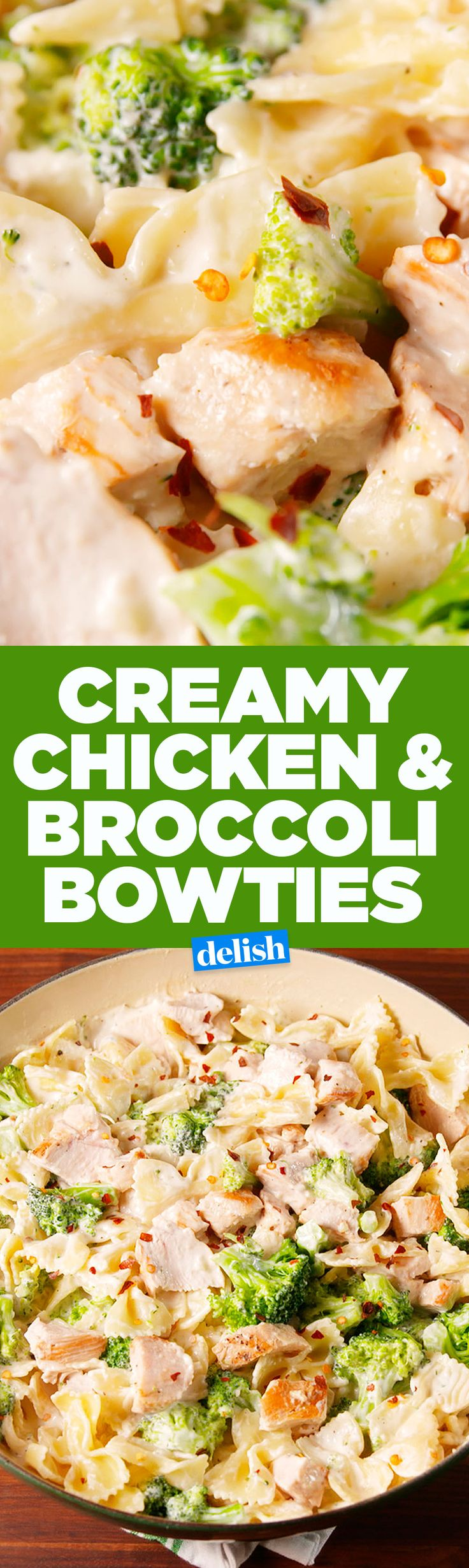 Creamy Chicken & Broccoli Bowties uses the best low-fat cooking hack. Get the recipe on Delish.com.