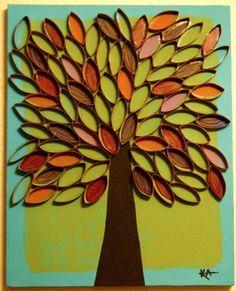 Wunderschöner Herbstbaum, den man auch variieren kann. Aus Klopapierrollen, in ca. 1cm dicke Streifen geschnitten.
