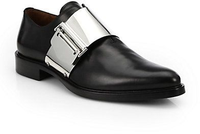 Givenchy Richelieu Metal Buckle Leather Shoes