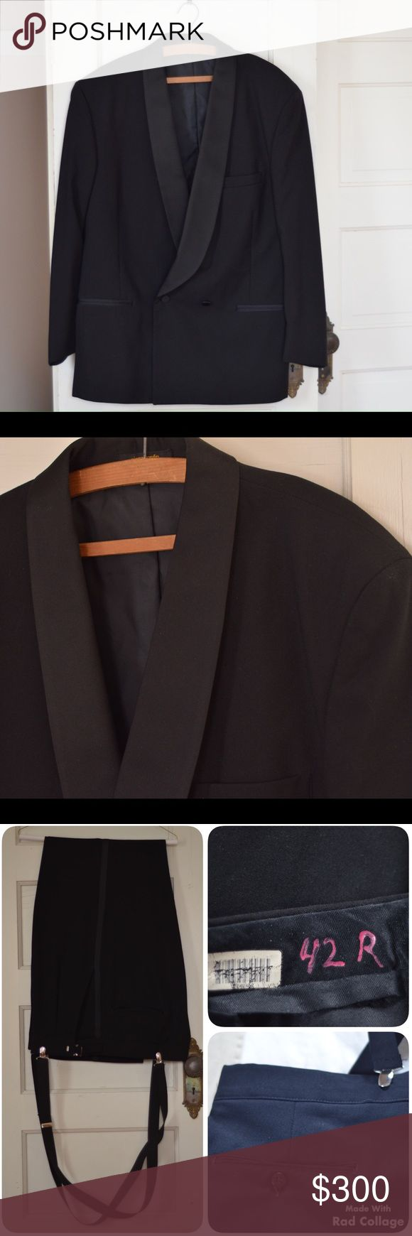 """Pierre Cardin Tuxedo Pierre Cardin Tuxedo, size 42R. From a smoke free home. Pants: 42"""" waist, 32"""" inseam. Jacket: 20"""" across shoulder, 25"""" sleeve length, 23"""" across chest laying flat. Pierre Cardin Suits & Blazers Tuxedos"""