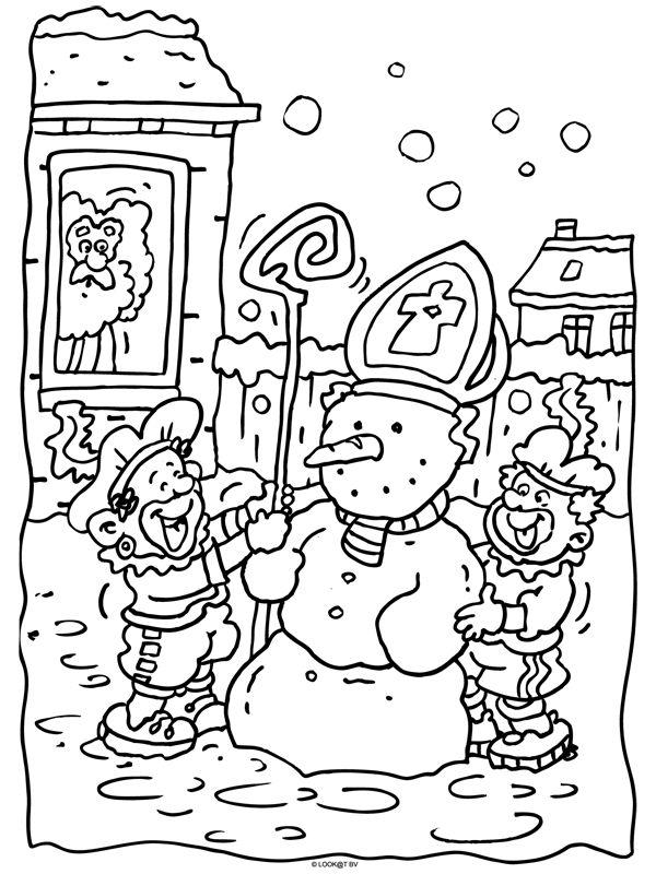 * Zwarte Pieten maken een sneeuwpop!