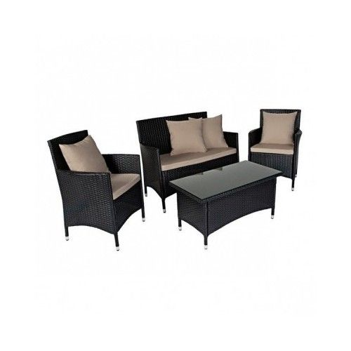 This beautiful modern black wicker set features two resin wicker arm chairs, a loveseat and a cocktail table.  The perfect size for a small living space which can be used for indoor or outdoor living.