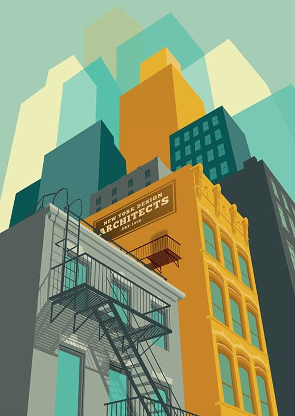 Like the treatment on the buildings. #illustrations #flat