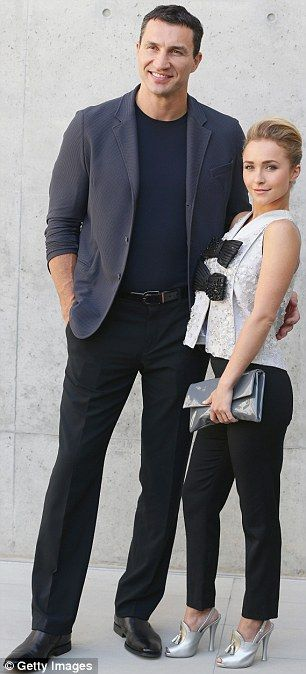 Stunning Hayden Panettiere poses with boyfriend and rumoured fiance Wladimir Klitschko as they attend a Giorgio Armani show during  Milan Menswear Fashion Week