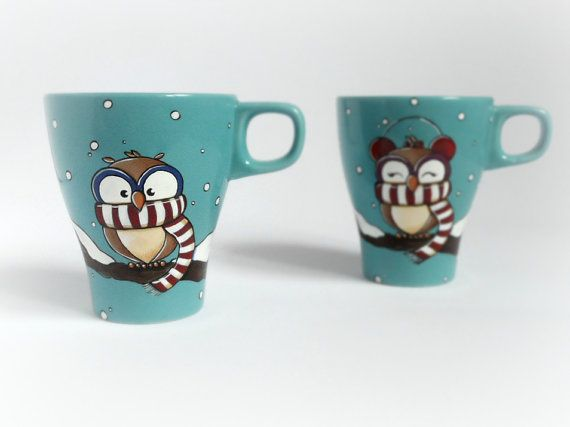 His and hers owl mugs with snow by vitaminaeu on Etsy