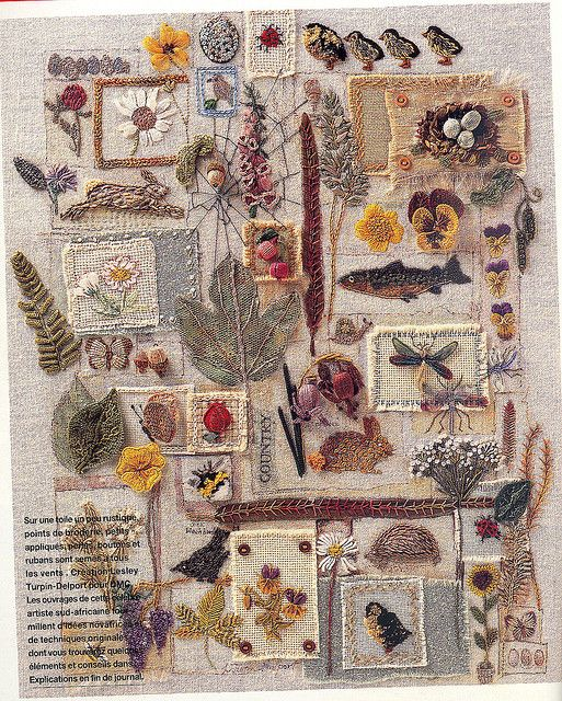 """A Country Feeling"" Embroidery Sampler - From Marie Claire Idées June 1999 - Designed by Lesley Turpin Delport."