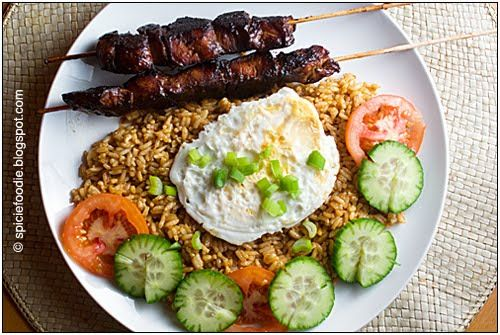 Nasi Goreng Indonesian Fried Rice with Chicken Satay