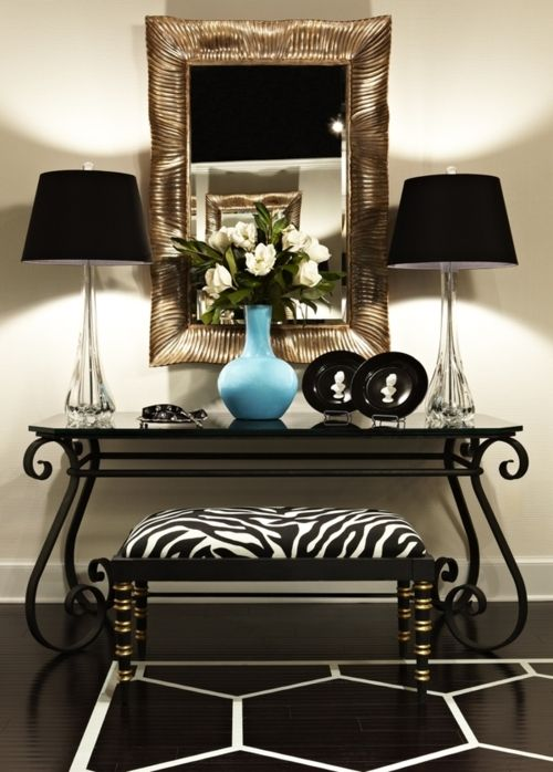 Foyer Table Lamps : Gold framed mirror black white decor table lamps on