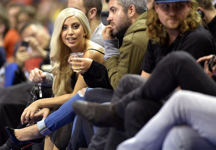 Lady Gaga sat courtside at the Alba Berlin and San Antonio Spurs basketball game in Berlin on Wednesday.
