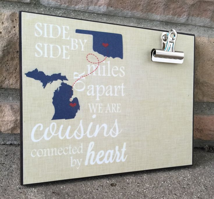 Personalized frame, Cousins Frame, States, Side By Side or Miles Apart, Housewarming Gift, Christmas Gift, Thinking of You Gift by LoveSmallTownUSALLC on Etsy https://www.etsy.com/listing/256925855/personalized-frame-cousins-frame-states