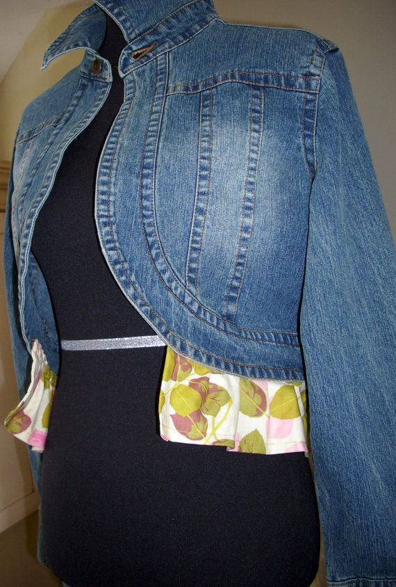 Upcycled womens 2X bolero boho denim jacket by janasjeansandjewels, $25.00
