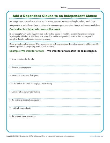 Printables Independent And Subordinate Clauses Worksheet 1000 ideas about dependent clause on pinterest compound complex add a to an independent grammar worksheets