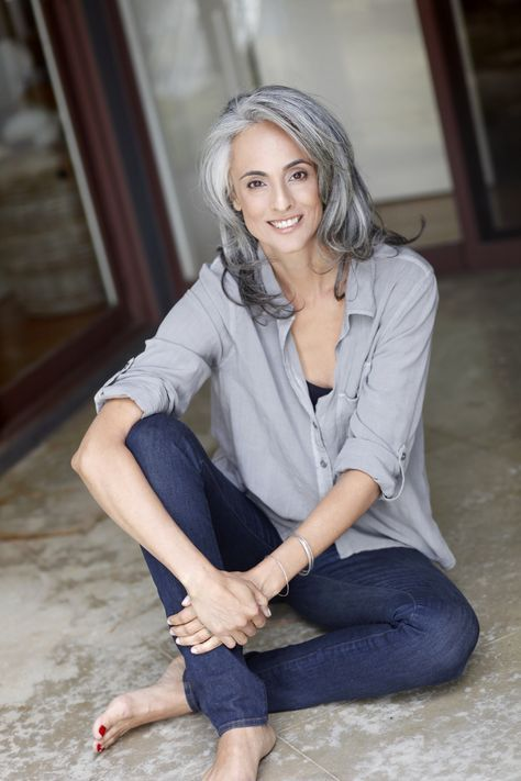 Natural Grey hair on women is beautiful.