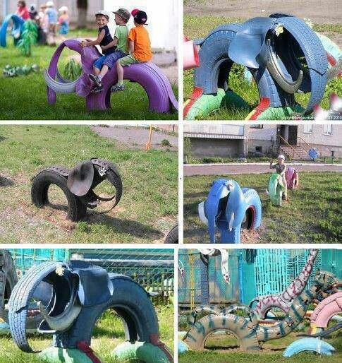 Tire playground equipment tires pinterest do it for Tractor tire recycling
