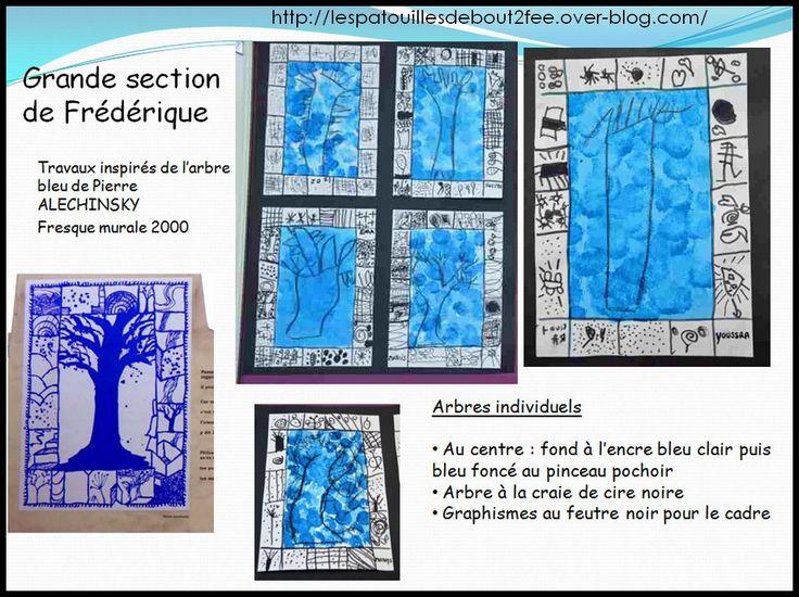 Une autre classe de grande section a choisi de travailler sur la fresque murale : l'arbre bleu de Alechinsky qui se trouve à Paris.