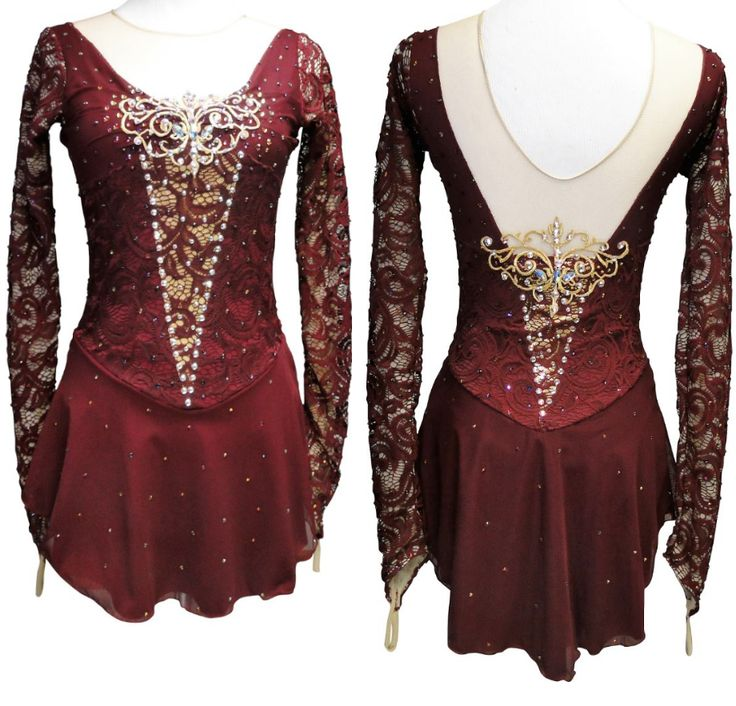 Wine and gold Phantom of the Opera figure skating dress by Sk8 Gr8 Designs. Learn more about custom figure skating dresses at http://sk8gr8designs.com