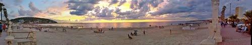 Beach panoramic view (stitched panorama).  Piriapolis, Uruguay.