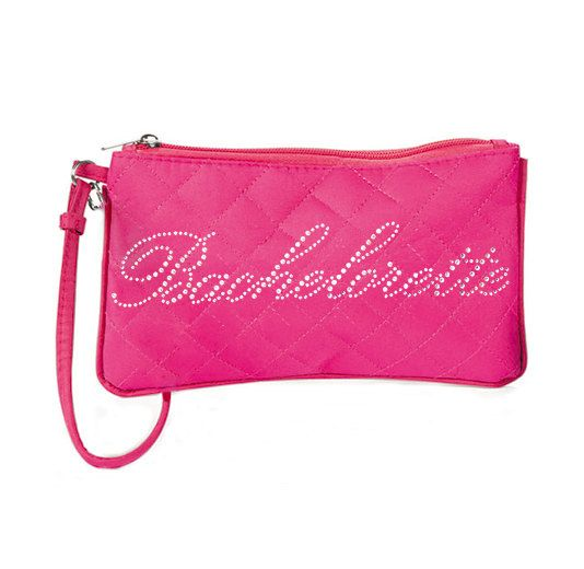 Pink Bachelorette Rhinestone Quilted Zipper Pouch- Make Up Bag, Bride Gift, Bachelorette Party Gift, Bachelorette Party Kit, Survival Kit