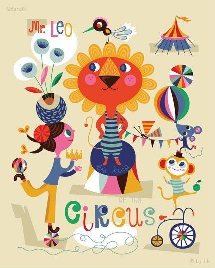 Mr. Leo the KIng of the Circus... limited edition giclee print of an original illustration (8 x 10 in). $25.00, via Etsy.