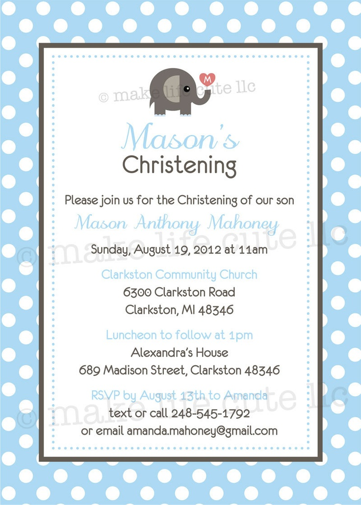 "ELEPHANT - Printable 5""x7"" Invitation Design - Baptism, Dedication, or Communion - DIY Elephant Christening Collection - by Make Life Cute. $17.50, via Etsy."