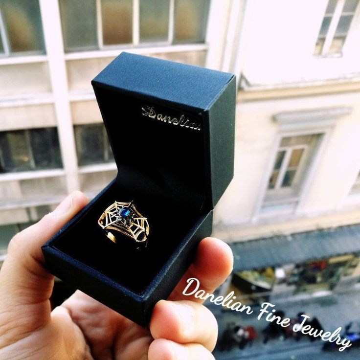 Standing at window for delivery. sweat_smile A weird guy asked us for this ring dedicated to his first love..spider️spider_web️ Custom jewelry was designed, planned and created with Spider Web ring and gemstones. http://etsy.me/2i718F3 #etsy #danelianjewelry #etsyfinds #etsygifts
