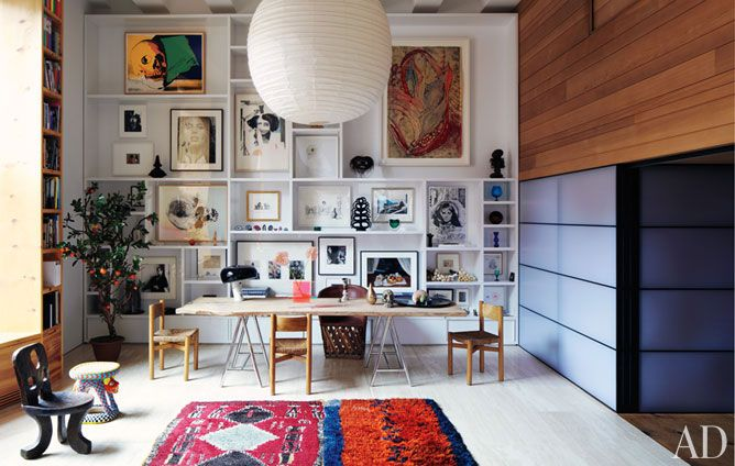 What an inspirational work space!Decor, Spaces, Frames, Interiors, Gallery Walls, Shelves, Living Room, Architecture Digest, Art Wall