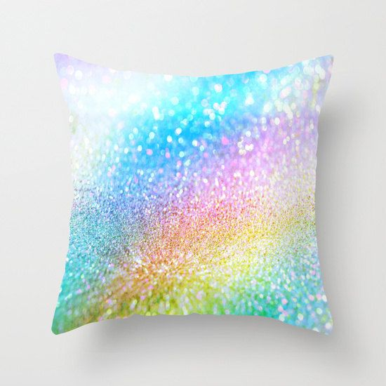 rainbow pillow/pillow covers/glitter by haroulitasDesign on Etsy