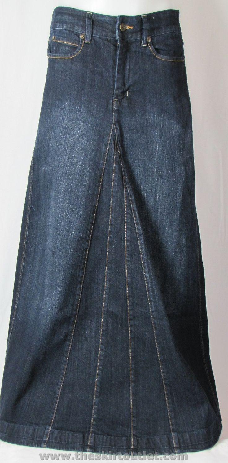 Classic Cute Long Modest Blue Denim Jean Skirt Ankle Floor length