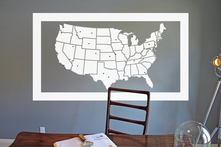 United States Map With Travel Markers Large Vinyl Wall Art - Us map wall art