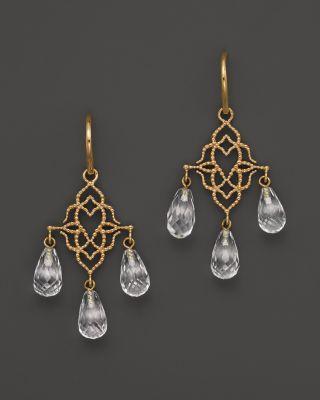 Buy Lisa Nik 18K Yellow Gold Twisted Wires Triple Drop Quartz Earrings